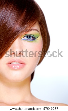 male to female makeup. female with bright makeup