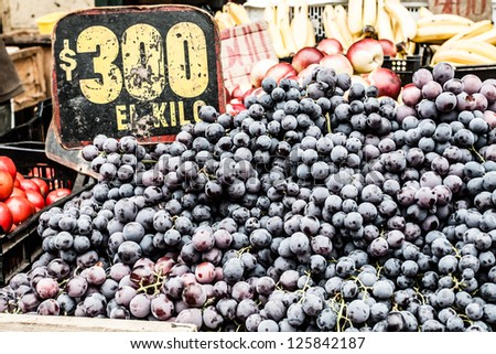 Close up of grapes on market stand in Chile