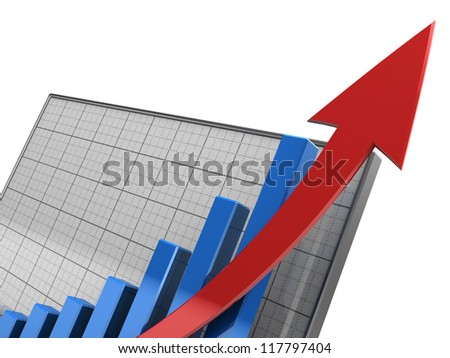 Close-up of  graph showing the increase profit, 3d image