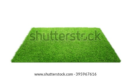 Photo of  Close up of grass carpet isolated on white background with copy space