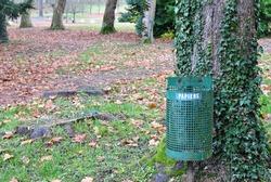 Close Up of Green Metal Litter Bin  beside Tree in Public Park in Autumn