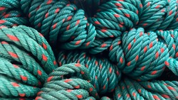 Close up of green rope background.