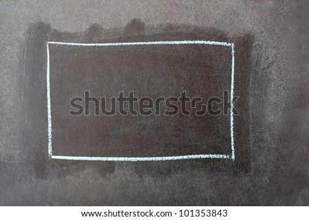 Close-up of green school chalkboard with drawing square