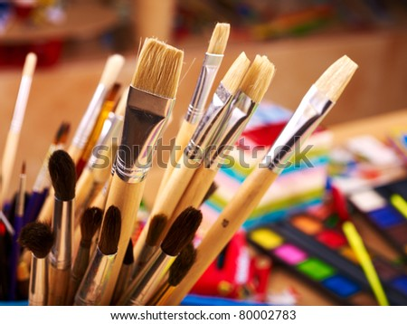 Close up of group art  supplies. stock photo