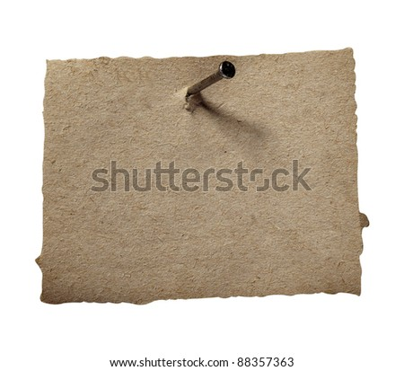close up of grunge note paper on white background with clipping path