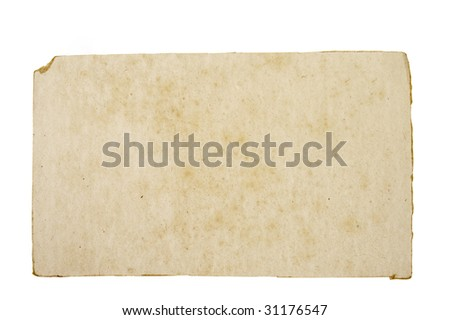 close up of grunge paper reminder on white background with clipping path