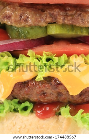 Close up of hamburger layers. Whole background.