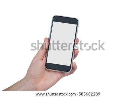 Close-up of hand holding mobile phone against white background #585682289