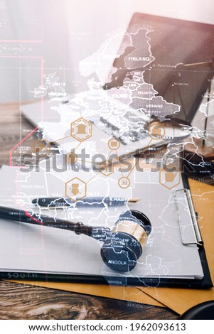 Close up of hand lawyer working signing contract paper with wooden gavel judge in the office. lawyer and law ,judiciary and legislature courtroom legal concept. Photo stock ©