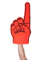 Close-up Of Hand Wearing Foam Finger Isolated On White Background