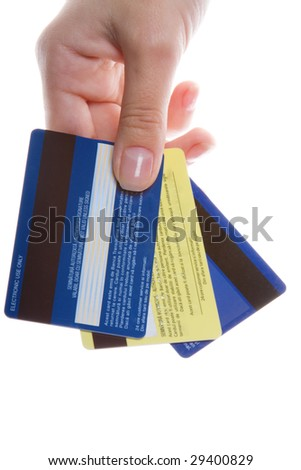 Close-up of hand with credit cards