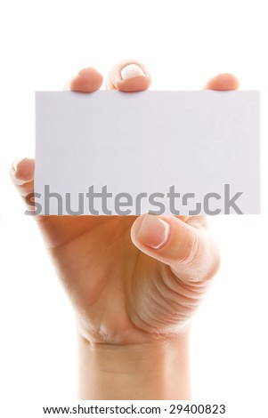 Close-up of hand with white card