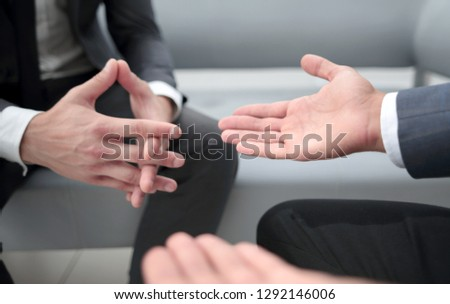 Close up of hands gesturing while.Isolated in office #1292146006