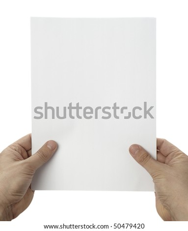 close up of hands holding blank white paper on white background with clipping path