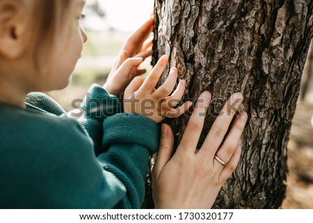 Close-up of hands of a little girl and a woman, touching a tree. Concept of caring and saving forests. Photo stock ©