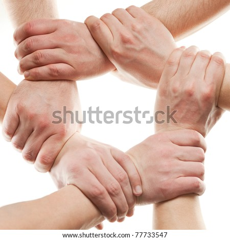 Close up of hands that hold together on white