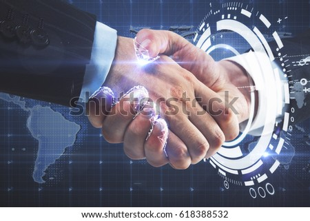 Close up of handshake with digital pattern and map. International partnership concept