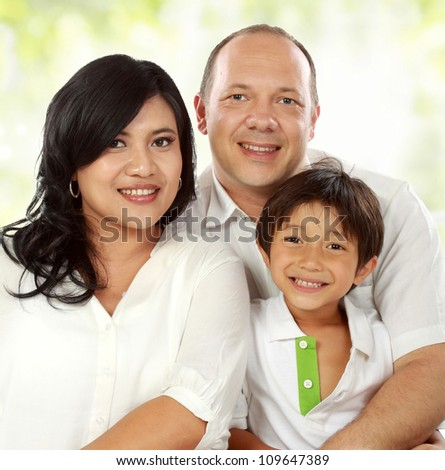 close up of Happy family portrait smiling