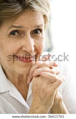 Close up of happy senior woman