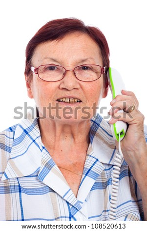Close up of happy senior woman on the phone, isolated on white background.
