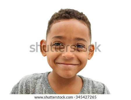 Close Up of Happy Smiling Boy with short curly hair isolated on white background Stock photo ©