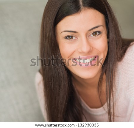 Close-up Of Happy Woman, Indoors