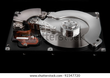 close up of hard disk  isolated on black background High reolution