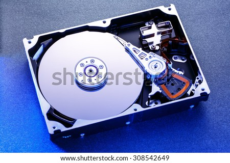 Close up of hard disk's internal mechanism hardware