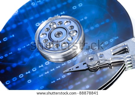 close up of hard disk with abstract reflection