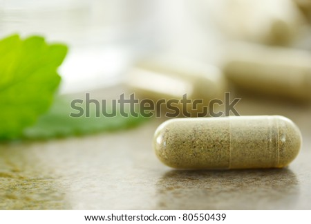 Close up of herbal medicine in capsules