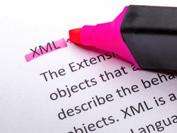 Close Up of Highlighting Specific Word XML Extensible Markup Language