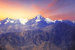 Close up of Himalayas mountains with beautiful sunrise scenery