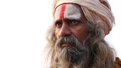 Close Up of Hindu Sadhu Holy Man