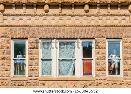 Close up of historic buildings in the center of  Deadwood, South Dakota, USA (National historical landmark) #1563845632