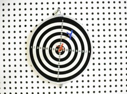 Close up of hit target. Red and blue darts arrows in the centre of dartboard. Concept of success, aim and goal acheivement, win and lose concept. Symbol of success and victory. Game demonstration.