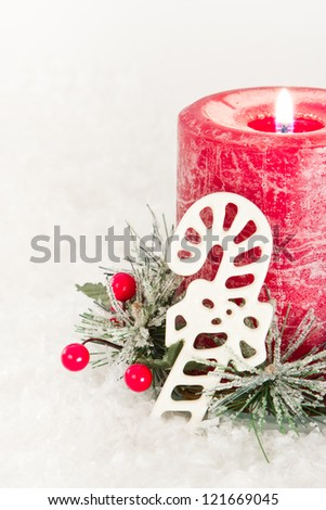 close up of holiday decorations on a white snow background