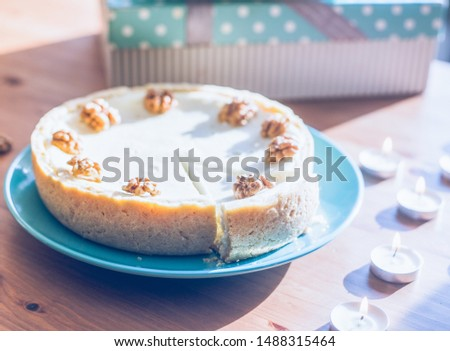 Close up of homemade cake , homemade pie with nuts, gentle good illustration for baking and cozy mood