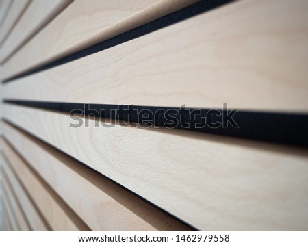 CLose up of horizonal lines created by wooden panels on a wall. Modern interior design. Zdjęcia stock ©
