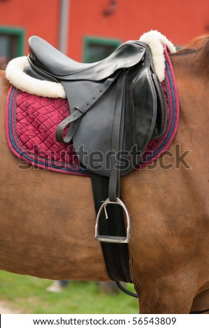 close up of horse saddle