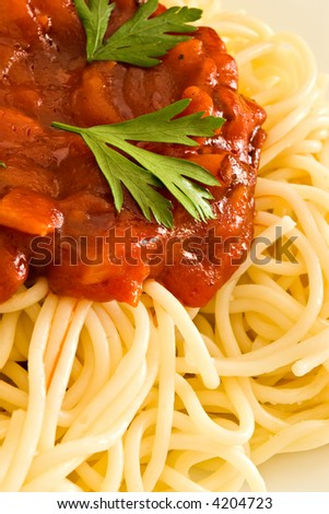 Close-up of hot tomato sauce on spaghetti - stock photo