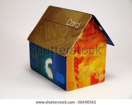 Close-up of house build from credit cards