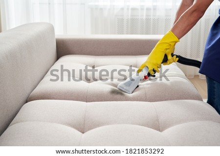 Close-up of housekeeper holding modern washing vacuum cleaner and cleaning dirty sofa with professionally detergent. Professional springclean at home concept Photo stock ©