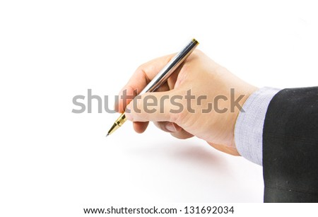 Close up of human hand with golden pen