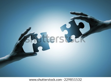 Close up of human hands connecting puzzle elements #229851532