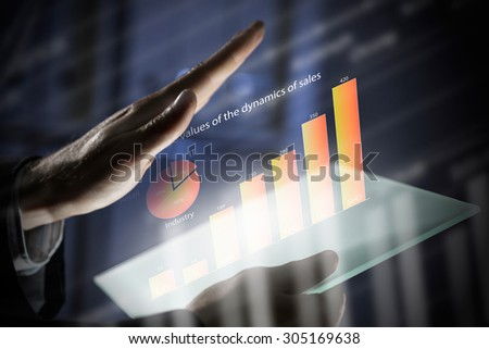 Close up of human hands using virtual panel #305169638