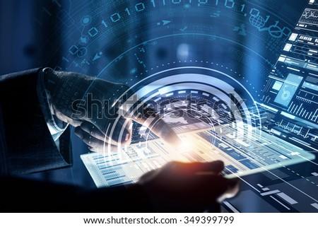 Close up of human hands using virtual panel #349399799