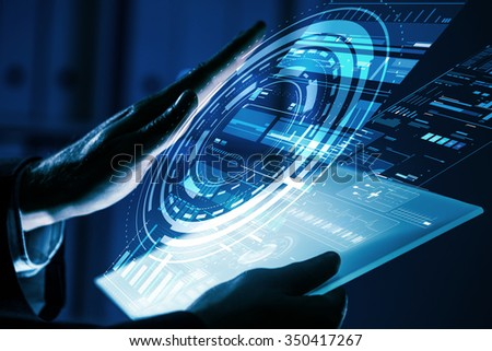 Close up of human hands using virtual panel #350417267