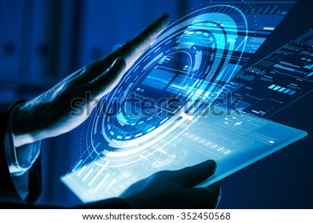 Close up of human hands using virtual panel #352450568