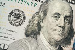 Close up of hundred dollar bill. Macro close up of Ben Franklin. 100 dollar bill. financial concept.