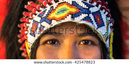 close up of Indian woman hunter.Native American #425478823